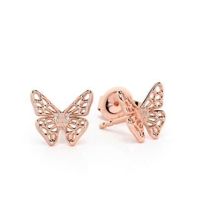 Solid Gold Skipper Butterfly Stud Earrings