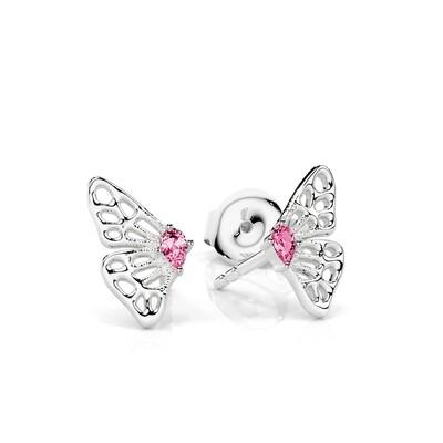 Solid Gold and Sapphire Split-wing Skipper Butterfly Stud Earrings