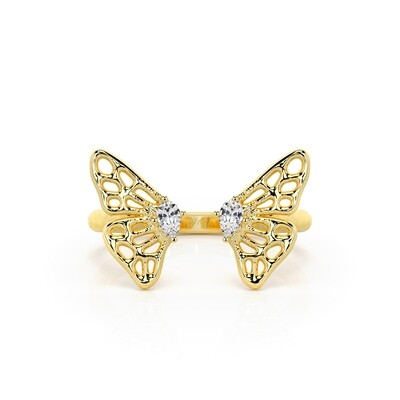 Solid Gold and Sapphire Split-wing Skipper Butterfly Ring