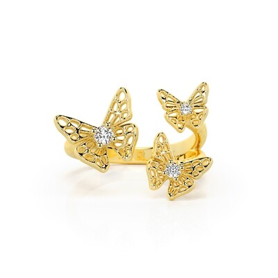 Solid Gold and Sapphire Kaleidoscope Skipper Butterfly Ring