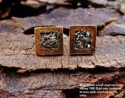 Small Gold Crush Stud Earrings