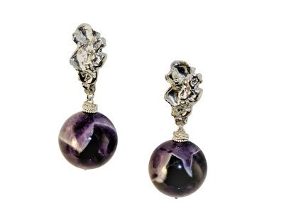 Chevron Amethyst Voodoo Lily Earrings