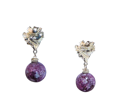 Medium Lepidolite Voodoo Lily Earrings