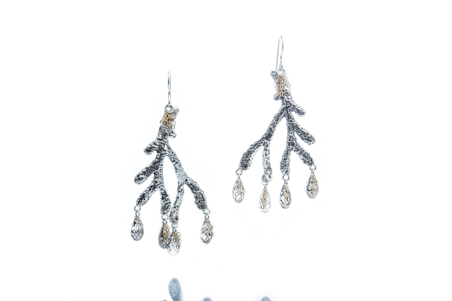 Drifting Coral Branch Chandelier Earrings
