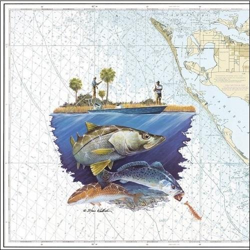 Steve Whitlock 'Sarasota Bay & Approaches Slam Chart - SeaTr.Redf.Snk.'