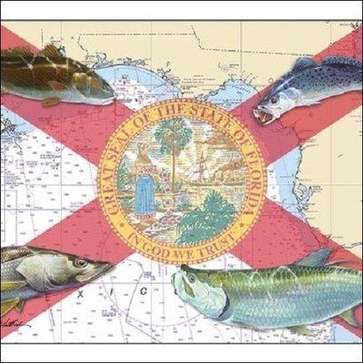 Steve Whitlock 'Florida Flag Chart - Coastal Fish'