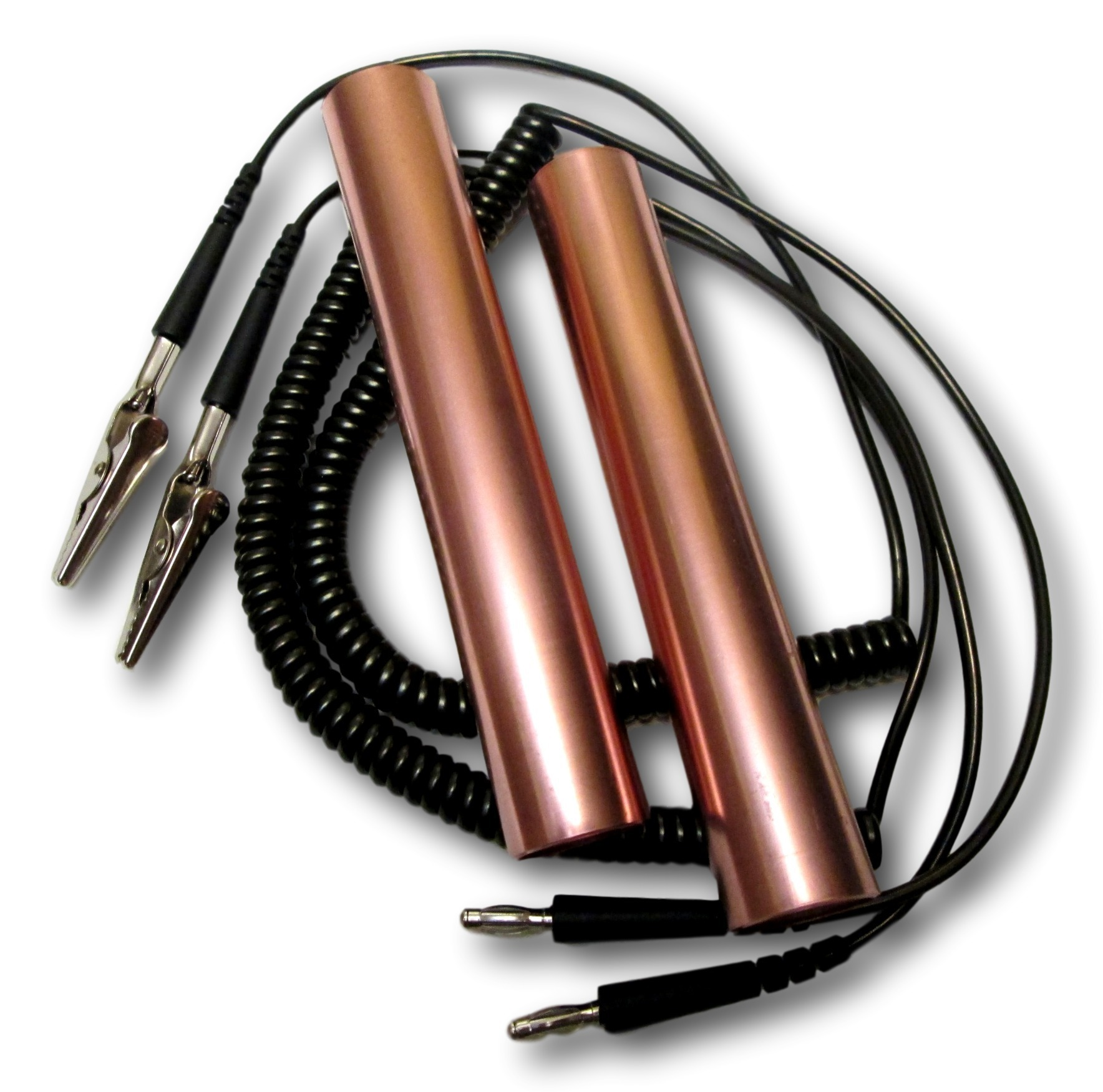 COPPER HANDHOLDS & ALLIGATOR CLIP CONNECTING CABLES 0017