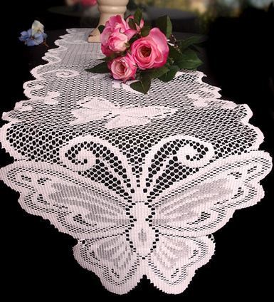 """White Lace Table Runner with Butterfly Design, 13""""x 96"""", Price Each"""