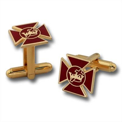 Red Maltese Cross Cufflinks