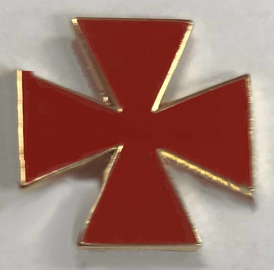 Lapel Pin Red Maltese Cross 3/4
