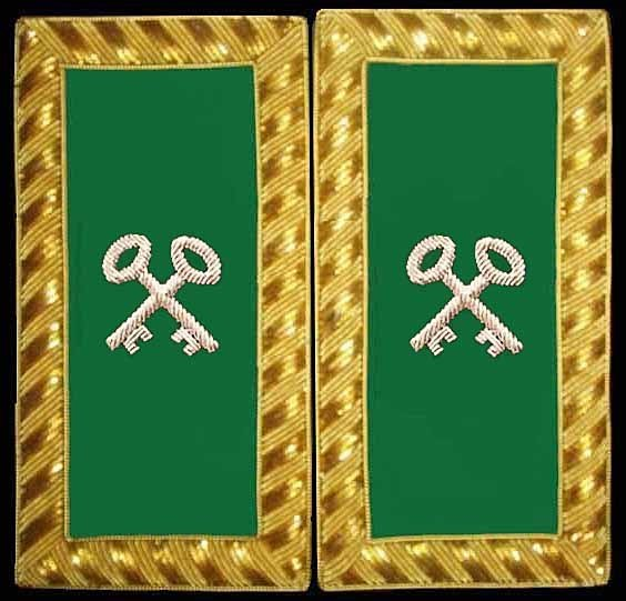 Embroidered Shoulder Rank Treasurer (Gold Bullion) pair