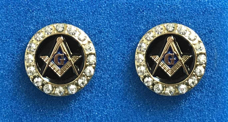 Masonic rhinestone cufflinks