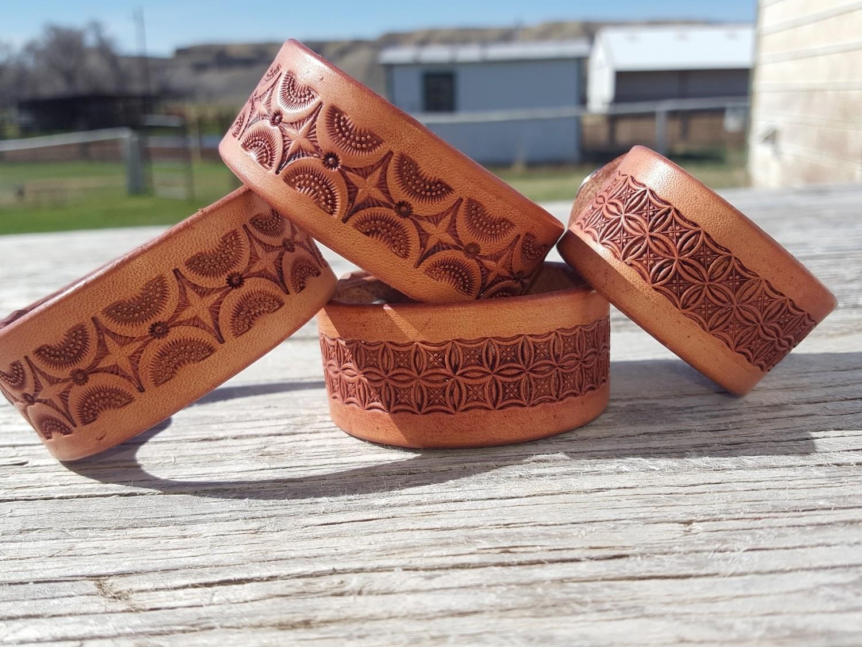 Leather stamped bracelets