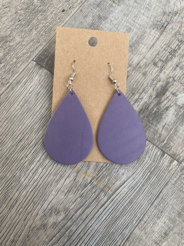 Lavender Leather Earrings