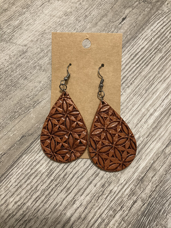 Stamped Leather Earrings