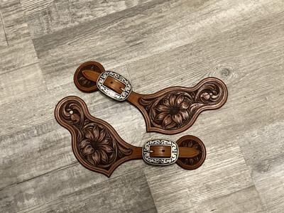 Floral Carved spur straps