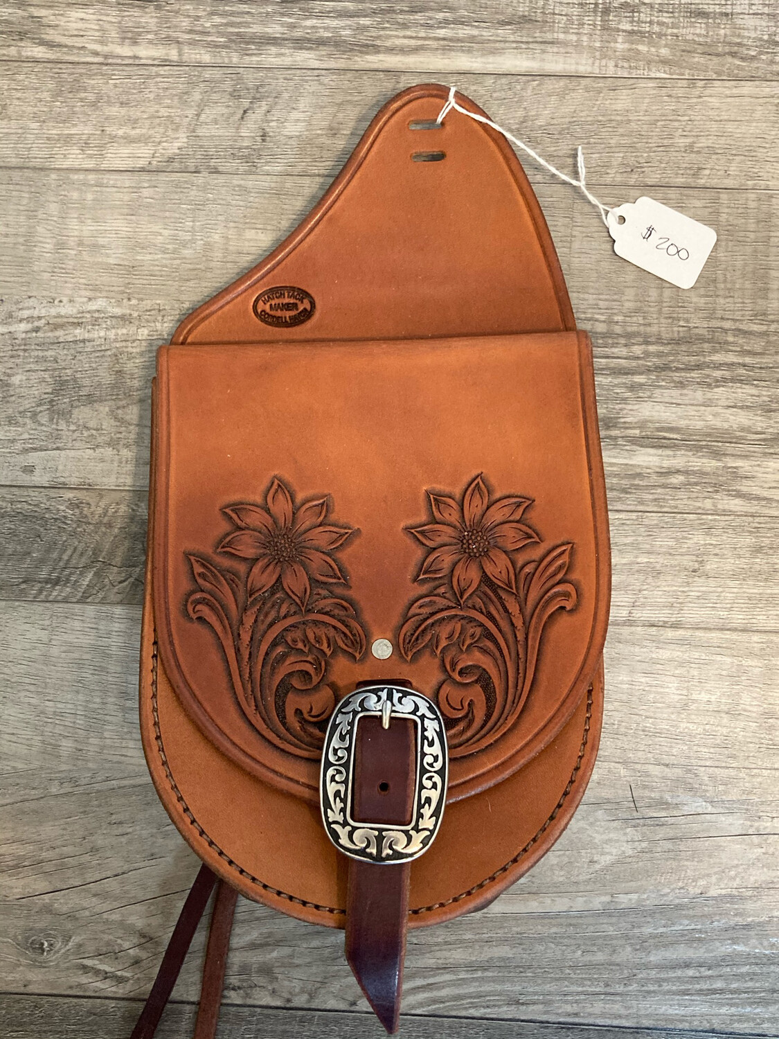 Saddle bag with floral tooling