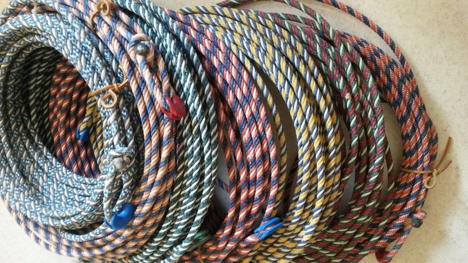 """Waxed COLORED Cotton rope 5/16"""" 60ft"""
