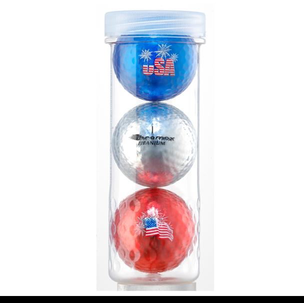Chromax® USA 3 Ball Tube - (Blue, Silver & Red)