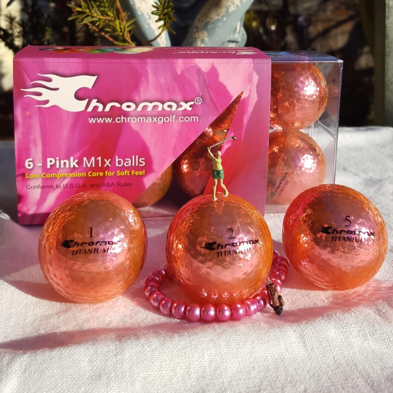 Pink Golf Balls - Chromax M1x Half Dozen (The Pink Box)