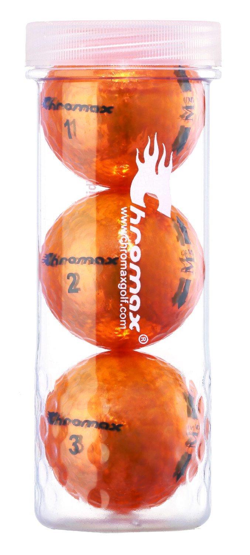 Chromax® Colored Orange Golf Balls - Metallic M5 3 Ball Tube