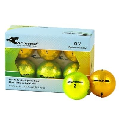 Green neon & Gold Golf Balls- Chromax O.V. Half Dozen