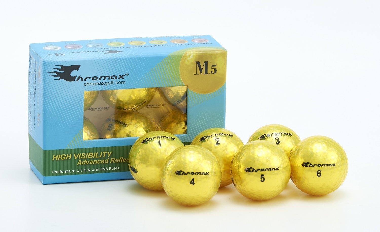 Chromax® Colored Yellow Golf Balls - Metallic M5 6 Ball Pack