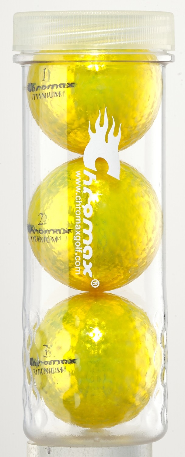 Yellow Golf Balls - Chromax M1x 3 Ball Tube