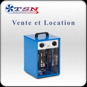Vente et location chauffage électrique type aérotherme électrique DEH3 220/1 - 3KW avec thermostat
