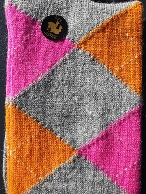 Socks - Ladies Argyle Orange