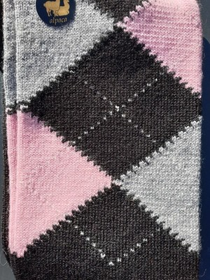 Socks - Ladies Argyle Pink