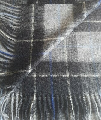 Scarf - Charcoal Check with Blue Stripe