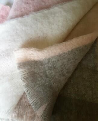 Brushed Throw Rug - Pink Sherbet Grey Rose Block