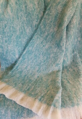 Brushed Throw Rug - Seagreen/White