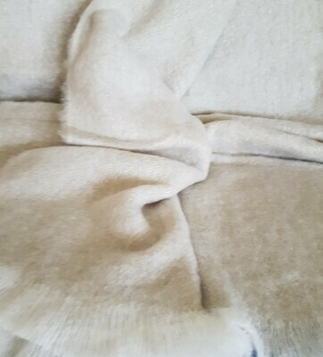 Brushed Throw Rug - Linen/White