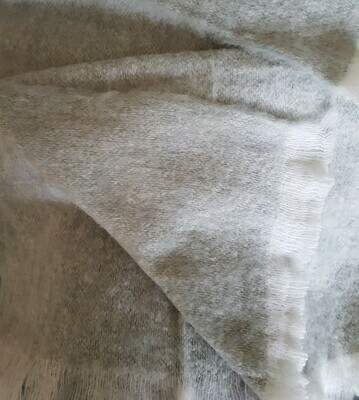 Brushed Throw Rug - Pebble Grey/White