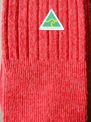 Sock - Ribbed - Red - Large