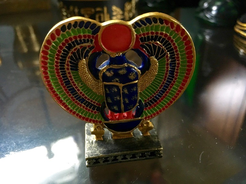 Green and Gold Decorative Scarab