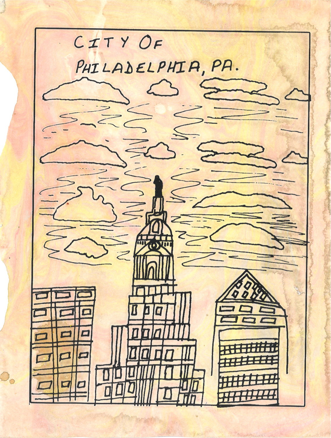 """City Hall Philadelphia"" screen print on hand-marbled paper by Timothy O'Donovan"