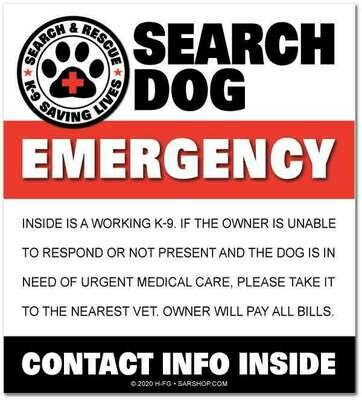 Window Decal (Reflective): SEARCH DOG EMERGENCY