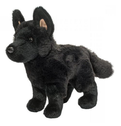Plush Pup Standing: Black German Shepherd
