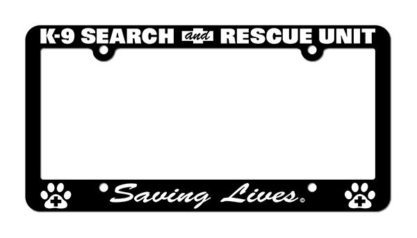 License Plate Frame: Search & Rescue K-9