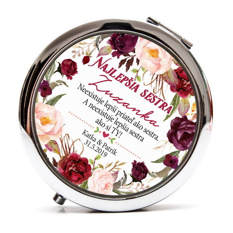 Zrkadielko pre sestru - marsala kvety