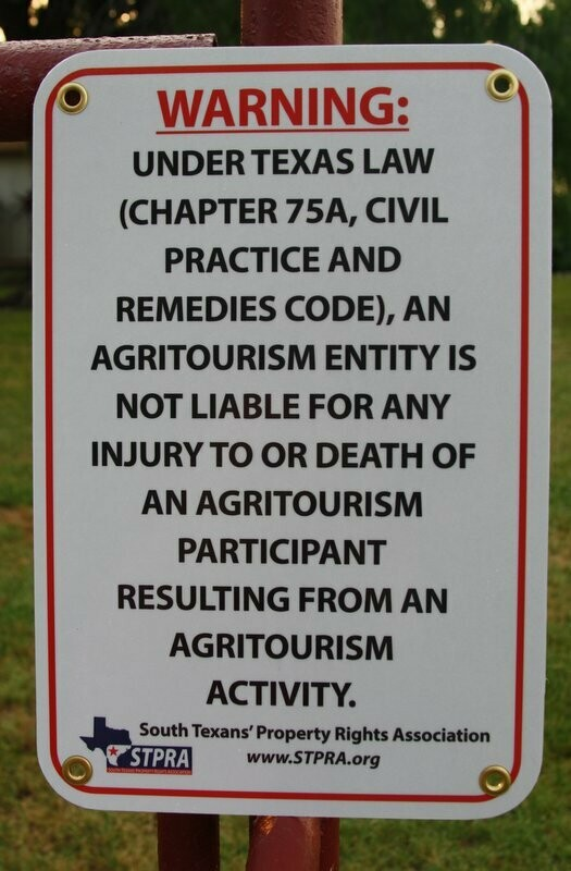 STPRA Agritourism Liability Gate Sign