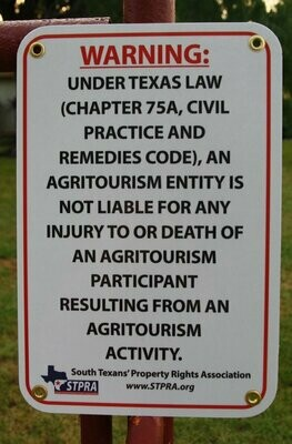 STPRA Agritourism Liability Gate Sign