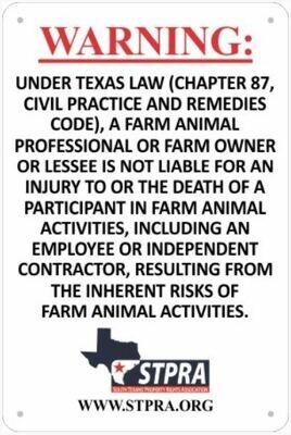 STPRA Livestock Liability Gate Sign
