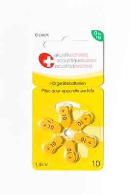 Grösse 10, Marke Akustik Schweiz, Hörgerätebatterien