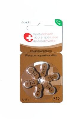 Grösse 312, Marke Akustik Schweiz, Hörgerätebatterien