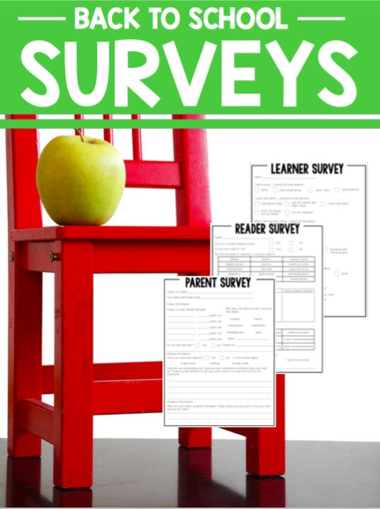 Back to School Surveys | Reading, Writing, Parent, Learner Survey!