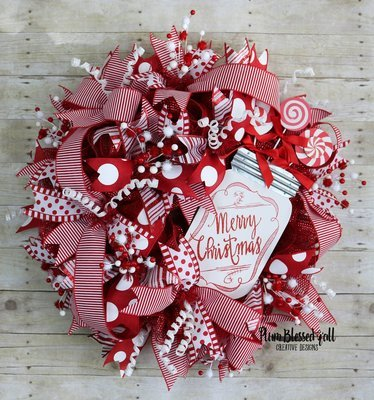XL Whimsical Christmas Deco Mesh Wreath for Front Door Candy Cane Theme